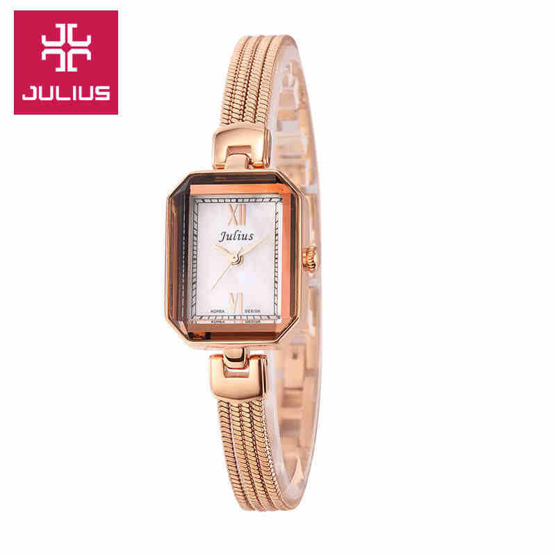 Julius Womens Watch Japan Quartz Hours Fine Fashion Snake Chain Bracelet Band Clock Rectangle Shell Girl Christmas Gift Box<br>