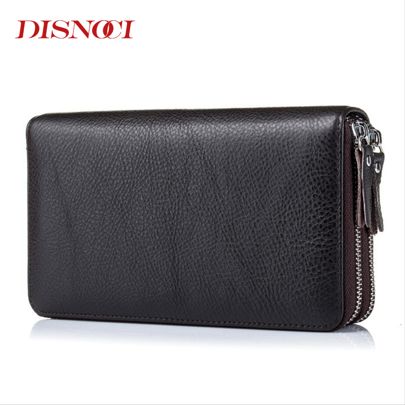 DISNOCI Double Zipper Men Clutch Bags Genuine Leather Mens Long Wallet Cowhide Male Purses Large Capacity Mens Wallets <br>