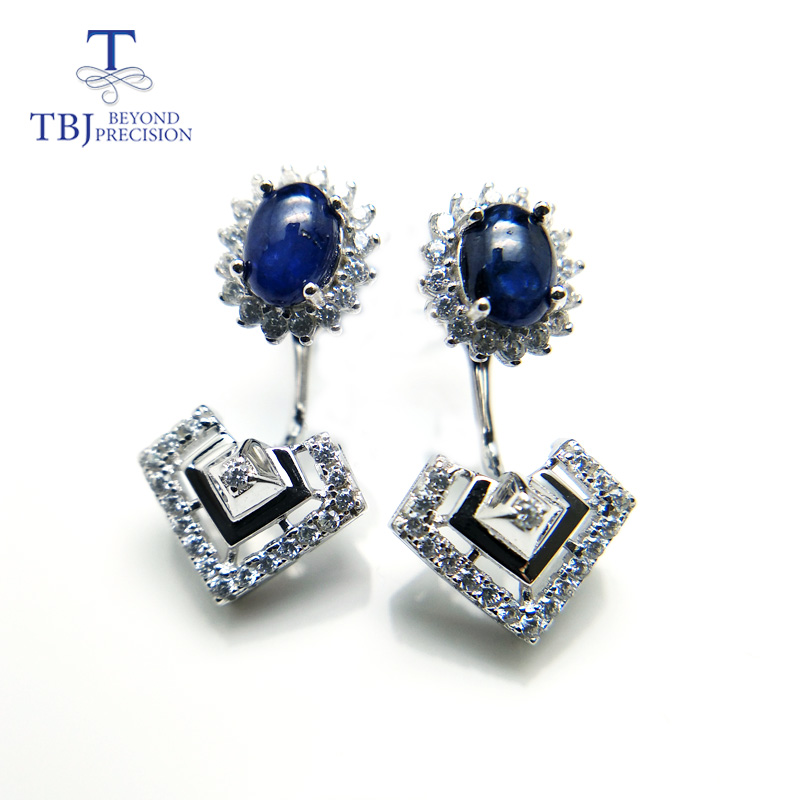 TBJ,Natural african blue sapphire unique dianna two design earring 925 sterling silver gemstone jewelry for women with gift box