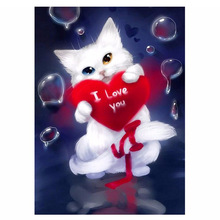 5D Diy Diamond Painting White Lovely Cat Cross Stitch Red Love Cat Needlework Home Decorative Full Square Diamond Embroidery