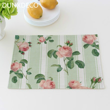 DUNXDECO 2PC 30x40CM French Country Style Rose Garden Flora Print Linen Cotton Blend Table Placemat Party Bow Dishes Fabric Deco