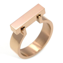 Classics Stainless Steel Jewelry Horseshoe Flat Shackle Brand Ring Punk Finger Love Ring Gold-Color Square Shape Ring For Women