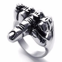 Hot Cool Unique Jewelry Men's Biker Middle Finger Up Stainless Steel Ring Specially Designed For Real Cool Men Size 7 to 14