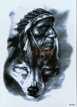 Indian tribes man wolf Temporary Tattoo large body art water Transfer Fake Tattoo Flash tatto for women men 14.5*21cm(China)