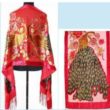 Free Shipping Red Chinese Women's Velvet Silk Beaded Embroidery Shawl Scarf Peafowl  SW07-G