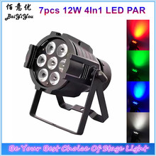 8pcs/Lot Good Quality Mini Stage Wash Light 7pcs*12W RGBW 4In1 LED Indoor Aluminum Black Case Mini Par Can Light 7X12W(China)