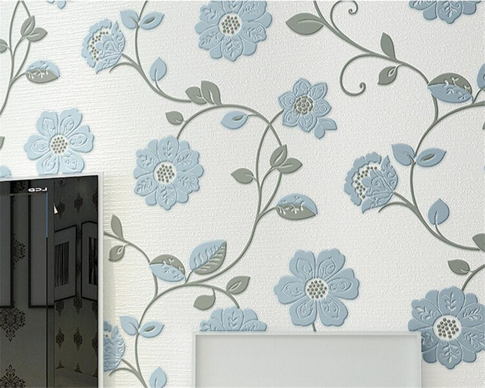 Beibehang Wallpaper embossed thick blue pink flower wallpaper roll, indoor 3d fresco home decoration 3D wallpaper papel tapiz<br>
