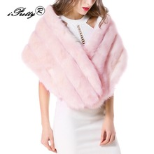 2017 Solid White Faux Fur Patchwork Shawl Thick Gown Scarf Luxury Autumn Winter Women Warm Soft fur pashmina Wraps Scarf(China)