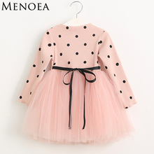 Menoea 2017 Autumn Cute Style Girls Dress Long-sleeve Dot Mesh Design Princess Dress Children Winter Clothing Knee Length(China)