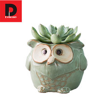 Dehomy Owl Shape Flower Pots Retro Ceramic Flower Pots Creative Animal Style Planter Garden Home Office Decoration Flower Pots(China)