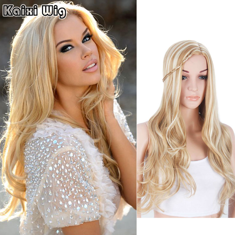28Long Mix Blonde Wig Cheap Synthetic Wigs For Black/White Women Long Wavy Hairstyles Womans Wig Fake Hair Cosplay Lolita Wig<br><br>Aliexpress