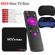 Buy MX9 Max Android 7.1 TV Box Quad-Core RK3328 Cortex-A53 2+16G 4K VP9 HDMI 2.0 100M AP6051 WIFI USB2.0 USB3.0 Smart Media Player for $42.99 in AliExpress store