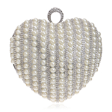 Fashion Beading Finger Ring Diamonds Heart Shaped Women Evening Bags Purse Handbags For Wedding Party Dinner Clutches L230
