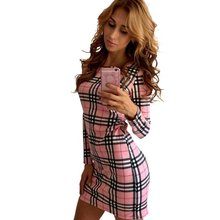 Women Plaid Pencil Dress Skinny Tartan Round Neck Knit Dresses Female Party Summer Dress(China)