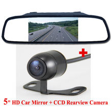 "5"" TFT LCD Parking Car Monitor Rear View Camera Mirror Car Bracket Monitor with 2CH Video Input Parking Assistance System"