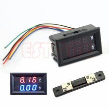 LED Digital Voltmeter Ammeter Amp Volt Meter + Current Shunt DC 100V 50A Dual New 2017
