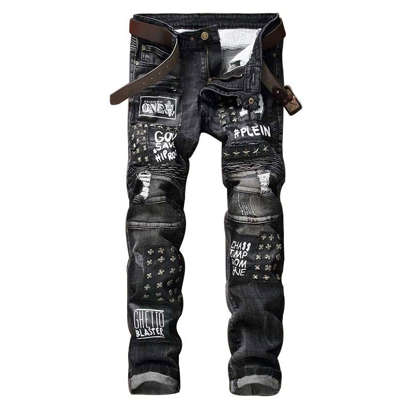 New Men Jeans Letter Printed Motorcycle Straight Jeans Drape Scratch Slim Fit Rivet Ripped Denim Trousers Black Hole PantsÎäåæäà è àêñåññóàðû<br><br>