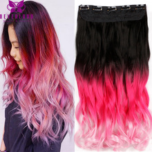 "New Arrival 20"" 50-55cm Long Wavy Curly Clip In Hair Extensions Pink Ombre Rainbow Color Women Synthetic Hairpieces B50"