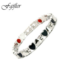 Romantic Lovers' Jewelry Stainless Steel Bracelets for Women Lady magnet, infrared, Ion energy Health Magnetic Bracelet