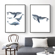 Watercolor Whales Canvas Art Print Painting Poster, Wall Pictures for Home Decoration, Wall Decor S16014(China)