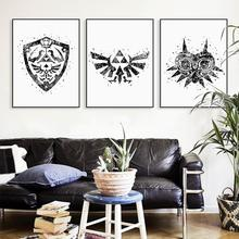 Legend Of Zelda Black White Logo Canvas Painting Large Art Print Poster Wall Pictures Home Decor Painting No Frame(China)