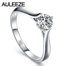 Classic Prong Setting 9k White Gold Wedding Ring Round Cut 1CT Simulated Diamond Solitaire Engagement Rings For Women Jewelry