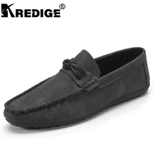KREDIGE Men Breathable Shoes Comfortable PU Loafers Convenient Brown Leisure Peas Shoes Hard-Wearing Non-slip Mens Flat Shoes