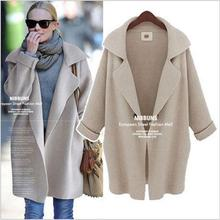 European style new winter suit collar and long sections loose knit cardigan sweater  large size women
