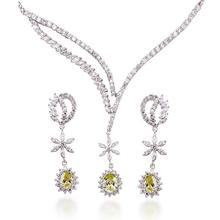 Luxury Ladies' Flower Shaped 12.6 CT Brilliant Cut Grade AAA Colored Cubic Zircon Stones Wedding Jewelry Set (0001)(China)