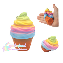 1PCS Jumbo Kawaii Cute Squishy Rainbow Ice Cream Super Slow Rising Bread Bun Cake Sweet Charm Scented Kid Fun Toy Gift Wholesale(China)