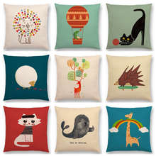 Hot Sale Funny Cartoon Cute Animals Friends Happy Days Cat Dog Bird Lion Deer Sheep Dragon Colorful Cushion Sofa Throw Pillow(China)
