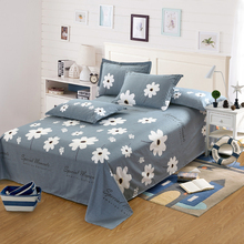 200x230cm Sunflower Plant Grey White Flowers Skirt Bed Sheet Brushed Cotton Skin-friendly Bed Sheet And Pillowcase bedding set