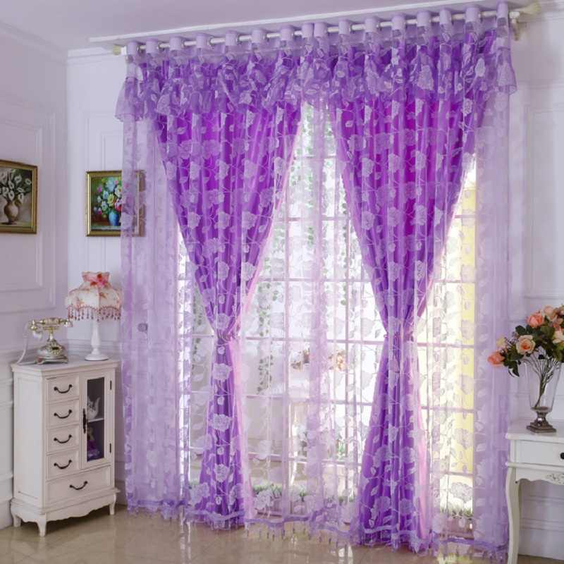 1 PC Blackout Curtain and 1 PC Tulle Window Curtains Set for Living Room Pastoral Burnout Curtains for the Bedroom Decoration