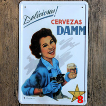 Delicious Cervezas Damm beer sign Tin Sign metal art poster home decor House Cafe Vintage Bar signs Wall Decor Retro Metal Art