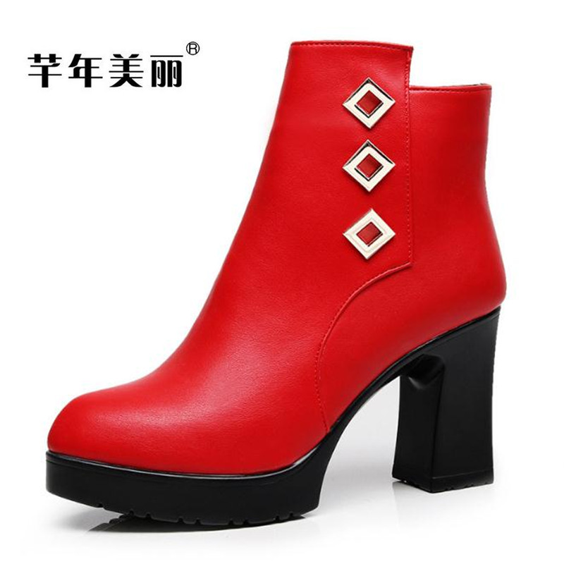 Autumn winter new Martin boots waterproof platform high-heeled red boots large size 40-43 yards womens boots Tacones Mujer boty<br>