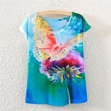 2017 Brand New Polyester T-Shirt Women Short Sleeve t-shirts o-neck Causal loose Drawing butterfly t shirt Summer tops for women