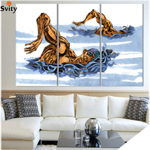 Modern Abstract Art Deco hand painted picture Painting Swimming Race On Canvas Sport Painting Unique Wall Art