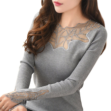 Women Pullovers 2017 Cashmere Sexy Lace Pullover Sweaters Fashion Patchwork Hollow Out Ruffled Collar Knitted Tops Pull Femme(China)