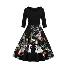 Winter Dress Rockabilly 2017 Autumn Half Sleeve V-neck Swan Print Big Swing 1950S 60S Robe Vintage Dress Women Plus size 3XL 4XL(China)