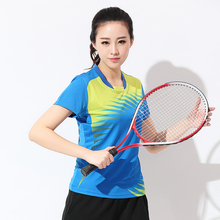 Free shipping new badminton wear short sleeved clothes ladies summer wear tennis sports shirts fast dry sports clothes(China)