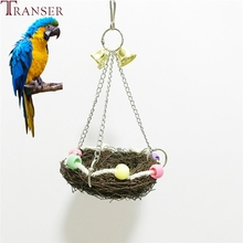 Transer Small Pet Animal Supply Parrot Parakeet Cockatiel Birds Bed Hanging Straw Nest Basket Hammock House With Bell 80105(China)