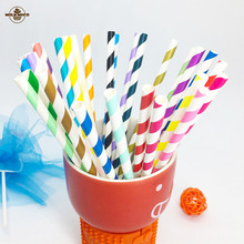 6mm 25pcs Paper Straws colorful striped mixed kids birthday wedding decorative chevron party decoration supplies drinking Straws