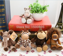 Zero Profit Cute15cm Germany Nici Jungle Brother Tiger Elephant Monkey Lion Giraffe Plush Animal Toy 5pcs/lot Free Shipping
