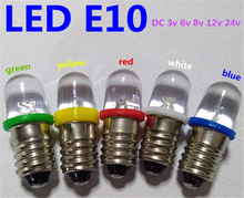 5pcs LED E10 6V Screw bulb Warning signal bulb 8v E10 24V Instrumentation led E10 12V blue Indicator red yellow green E10 3V