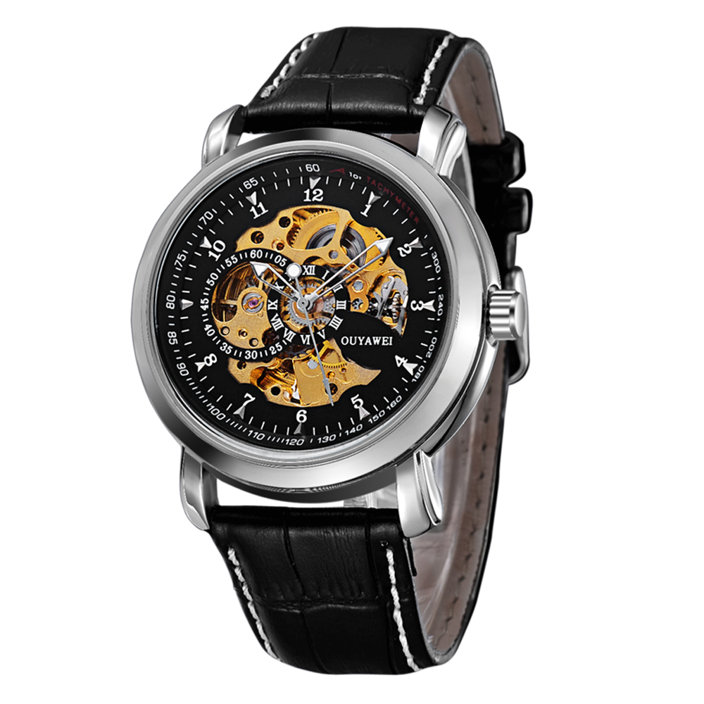 Ouyawei New Men Mechanical Skeleton Automatic Transparent Case Black Leather Watchband Male Watch<br><br>Aliexpress