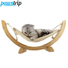 Fashion Wood Cat Hammock Soft Fleece Cotton Rabbit Hamster Bed Cushion Small Dog Cat Hanging Bed(China)