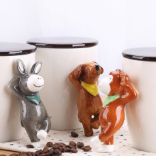 Ceramic Creative Cartoon dog rabbit monkey donkey Tea coffee mug animal milk mug porcelain figurine handicraft gifts
