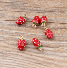 10pcs/lot 7*13mm Gold color 3D Strawberry Charms,red Enamel strawberry pendant ,Fruit Charm For DIY Jewelry Making