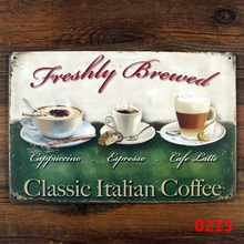 Vintage metal painting Classical Italian Coffee Poster crafts retro bar tin sign antique plaque iron wall sticker decor 20x30CM(China)