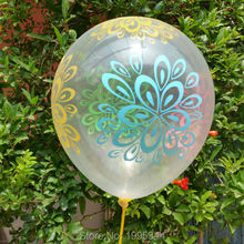 12inch Transparent balloon big flower printing latex round balloon very nice for party suppliese High quality 50 pcs/lot(China)